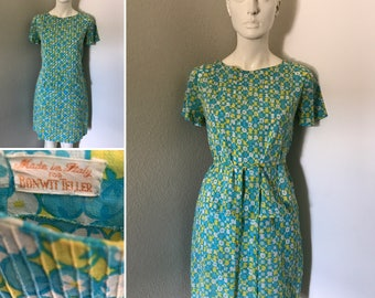 Vintage 50s 60s Bonwit Teller dress floral dress Italian clothing made in Italy ruffled crepe fabric summer dress