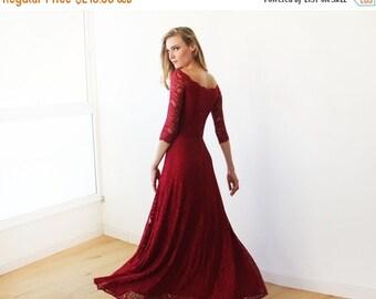 Oscar Sale Off-The-Shoulder Bordeaux Floral Lace Long Sleeve Maxi Dress 1119