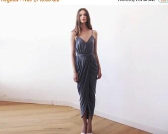 30% OFF - Blush Birthday Wrap maxi grey bridesmaids gown, Urban grey tulip maxi gown 1033