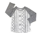 Sale Mud Cloth Print Raglan Long Sleeve Tee. www.brownsugarbeach.com