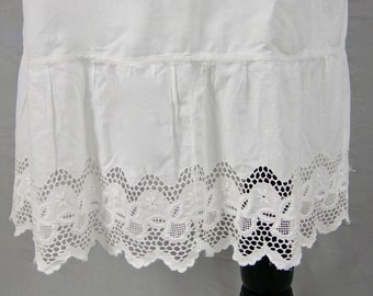 Antique Fine Linen & Crochet Lace Trimmed Victorian Petticoat Under Skirt