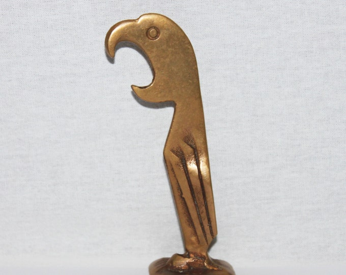Antique Prohibition Era 1929 Manuel D. Avillar Brass Parrot Bottle Opener, The Original Parrot Bottle Opener