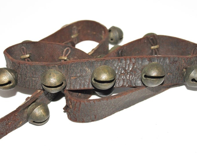 Antique Sleigh Bells, Set of 19 - No. 1 Brass Sleigh Bells, Petal Bells