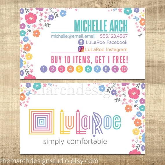 Customized lularoe business card by themarchdesignstudio for Etsy lularoe business cards