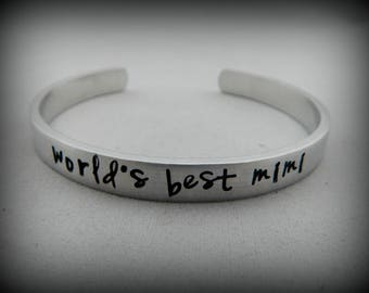 world's best mimi - Mimi Gift - Hand Stamped Grandmother Bracelet - Mothers Day Present - Mimi Jewelry - Pregnancy Reveal