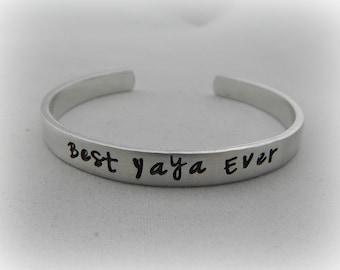 Best Yaya Ever - Hand Stamped Yaya Bracelet - Yaya Gift - Mother's Day Jewelry - kg1245