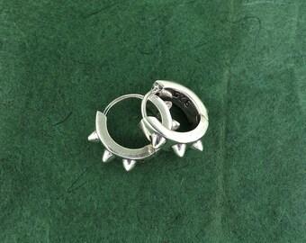 Sterling Silver Spiked Hoops Earrings Tribal Chic 6g
