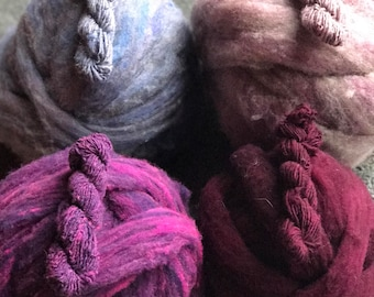 NEW! Handdyed Southdown Roving 4 colors down roving for Spinning 4 oz