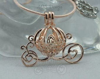 Pick A Pearl Pearl Cage Necklace Carriage Rose Gold Plated Charm Necklace Princess Cinderella Wish Pearl Epcot Pumpkin Locket