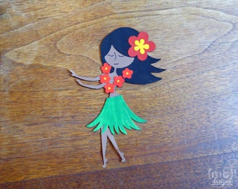 Hand Painted Hula Girl Embellishment