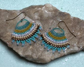 Aqua Beaded Earrings Beaded Fan Earrings Turquoise Earrings Beadwork Earrings Seed Bead Earrings Fan Bead Earrings Beadwoven Earrings