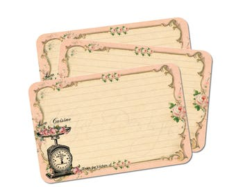 Cottage Chic Recipe Cards in Pink - Kitchen Scale - French Bridal Shower - Set of 12