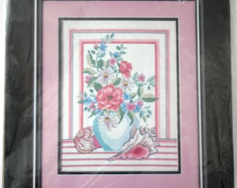 "Golden Bee Counted Cross Stitch Kit ""Shells & Floral Vase"" Unopened"