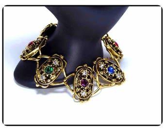 Vintage Sparkling USA Bracelet -  Rainbow of Rhinestones   Brac-6535a-041917010