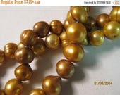 """Flash Sale - 8mm - 9mm, Freshwater Pearls, Potato, Dyed Golden Copper - 1/4, 1/2 & Full (16"""") Strands are Available from the """"Options"""" menu"""