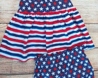 Pinafore Open Back Stars and Stripes Patriotic Swing Top and High Waisted Bloomers Ready To Ship Size 12-18 Months