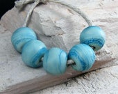 Handmade Lampwork Beads~Organic Nugget Rounds~ Etched Turquoise~Lampwork Beads