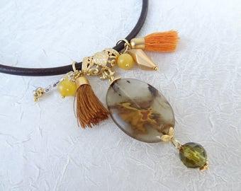 Brown Quartz Necklace, Black Stones Pendant,BlackLeather Necklace,Turkish Jewelry,Magnet Clasp Necklace, Women Fashion,Best Friend, Birthday