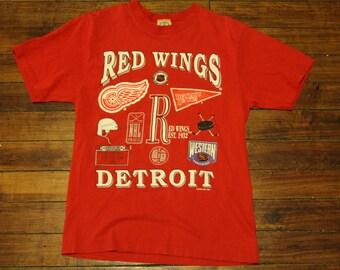 Detroit Red Wings shirt vtg NHL Hockey vintage graphic tee 1994 tshirt small
