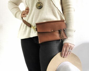 Brown Leather Festival Hip Bag and Purse