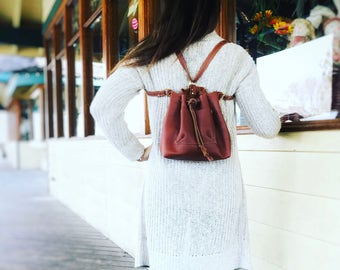 Leather Bucket Purse Convertible Backpack