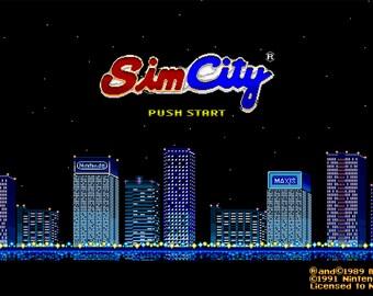 Video Game Art Print - Sim City - Super Nintendo Tribute