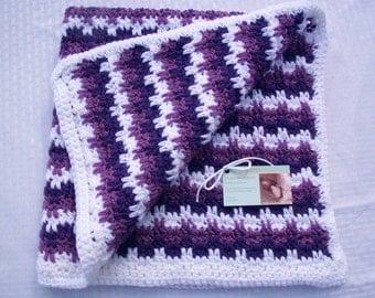 Baby Blanket/Afghan Hand Crocheted Overlapping Blocks Design White Yarn Purple Yarn Light Purple Yarn 30 Inches Square Unisex READY TO SHIP