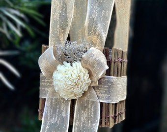 rustic woodland flower girl basket with cream  bows  and sola flower destination wedding basket