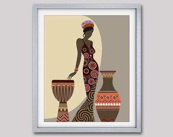 African Woman Art, Afrocentric Art, African Wall Art, Afrocentric Art, Afrocentric Decor, African American Art
