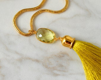 Gemstone tassel necklace Sophisticated natural lemon topaz and chartreuse silk tassel pendant on gold chain