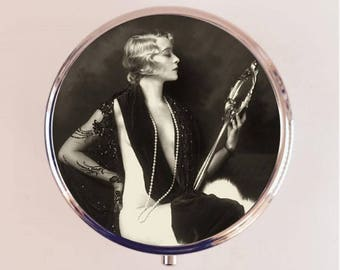 Flapper Mirror Pill Box Case Pillbox Holder Trinket Stash Box Art Deco Ziegfeld Follies Roaring 20s Jazz Age 1920s