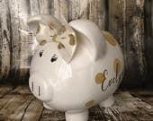 LARGE Personalized princess piggy bank with a Glitter Gold polka dot bow, piggy bank gift \Dancer bank, Dance fund piggy, Ballet bank,