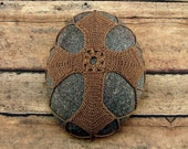 Crocheted Lace Cross Meditation Stone, Unique Christian Gift, Collectible Art For Man or Woman, One of a Kind, Handmade, Tiny Stitches