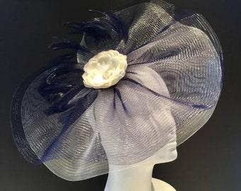 Navy Fascinator- Kentucky Derby Hat- Navy Headband- Derby Days Hat- Navy and Ivory Fascinator -Custom Fascinator -Spring Hat-Vintage Style