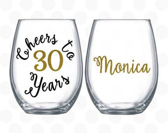 Cheers to 30 years - 30th birthday gift for women - Turning 30 -  wine glass - 30th birthday wine glass - 30th birthday for her