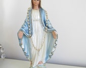 Shabby ornate chic Vintage Virgin Mary Statue, chippy Virgin Mary statue , cottage chic Madonna, cottage chic Madonna figure painted rosary