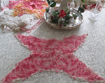 Large Vintage crochet doily,pink and white doilie, linens vintage pink butterfly crochet,vintage pink  kitchen by hermina's  cottage
