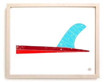 """Surfing Art Limited Edition Print """"Aloha Fin"""" - Mixed Media"""