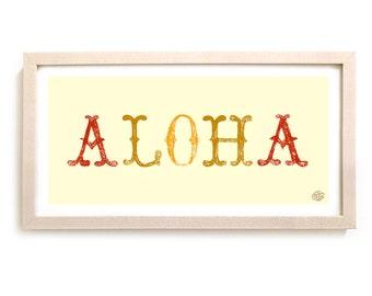 "Surfing Art Print ""Aloha"""