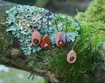 Wooden Drops Choker Pendants, Elastic Cord, Juniper Ash Oak Wood Amulet, For Her Him, Eco Friendly Woodland Pendant, Boho Hippie Minimalist