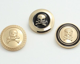 6 pcs 0.59~0.98 inch High-grade Fashion Matte Gold+Black Skull Metal Shank Buttons for Suits Coats