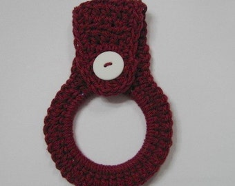 Towel ring holder with button closure – Burgundy Kitchen Towel Hanger