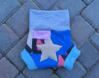 Upcycled cloth diaper Cover, wool soaker, shorties - Size Large - Girly patchwork scrappy with a star applique