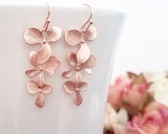 Rose Gold Earrings, Orchid Earrings, Flower Earrings, Rose Gold Jewelry Bridesmaid Gifts Bridesmaid Jewelry Wedding Wife Birthday Gift