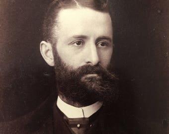Mustache & Beard Victorian Hottie Vintage Photo Cabinet Card
