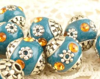 Turquoise, Silver, Orange Inlay Tibetan Tribal Beads (4)