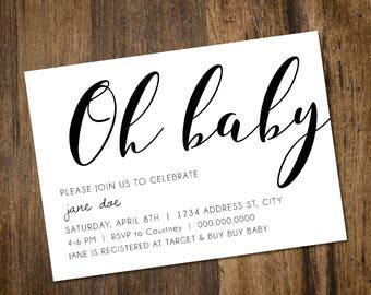 Oh Baby Shower Invitation