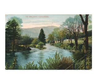 "vintage Scottish color postcard, ""On the Leny, Callander"" Scotland, 1924"