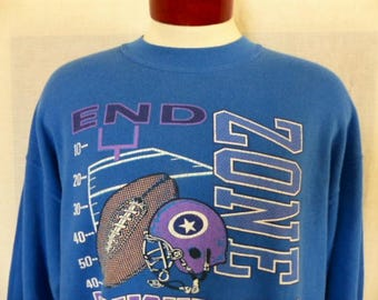 vintage 80's 90's End Zone Touchdown Football blue fleece graphic sweatshirt purple white helmet logo crewneck pullover jumper oversize XXL