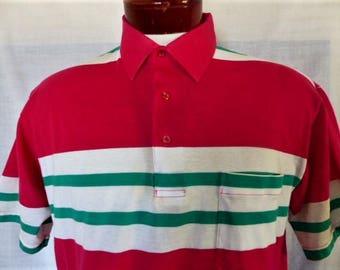 vintage 80's 90's Puritan bright color block jersey knit polo shirt  fuchsia pink green white horizontal stripe tennis golf shirt Large